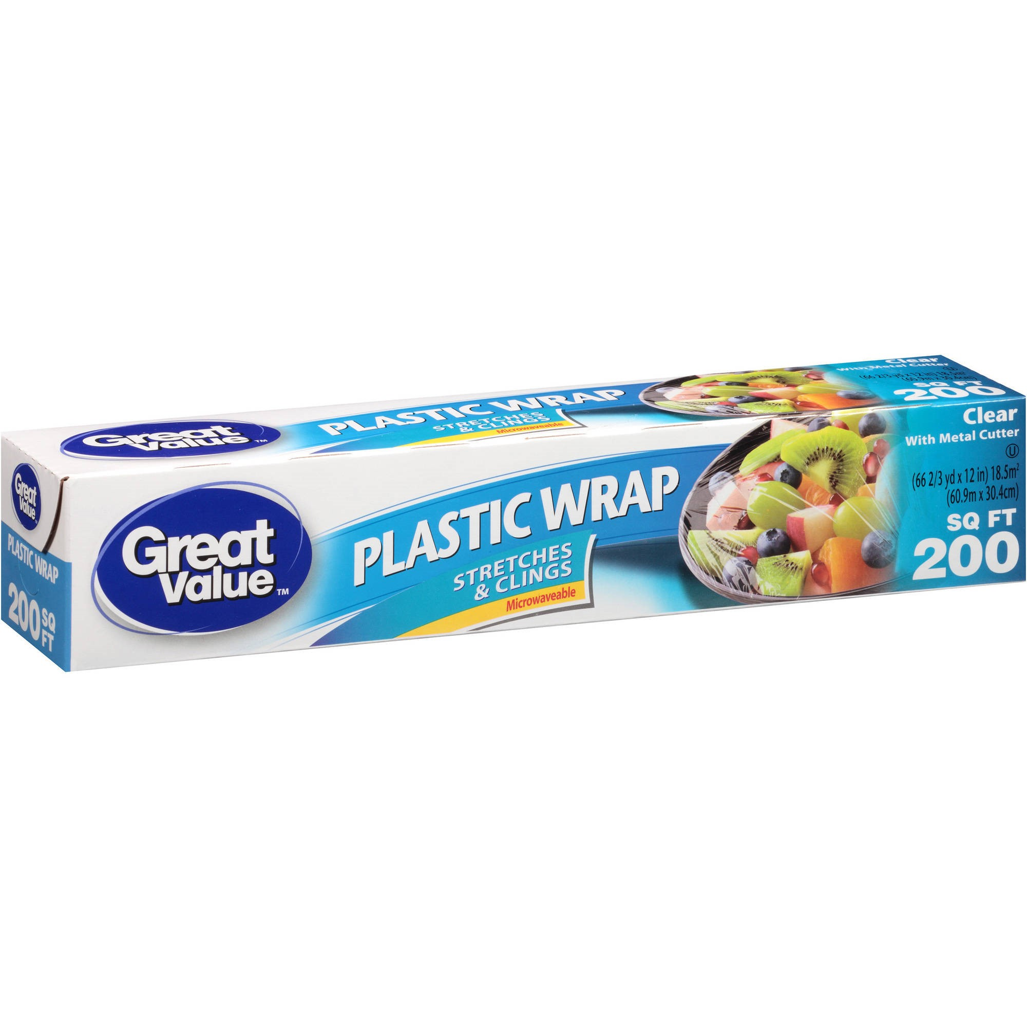 Great Value Plastic Wrap, Clear, 200 sq ft