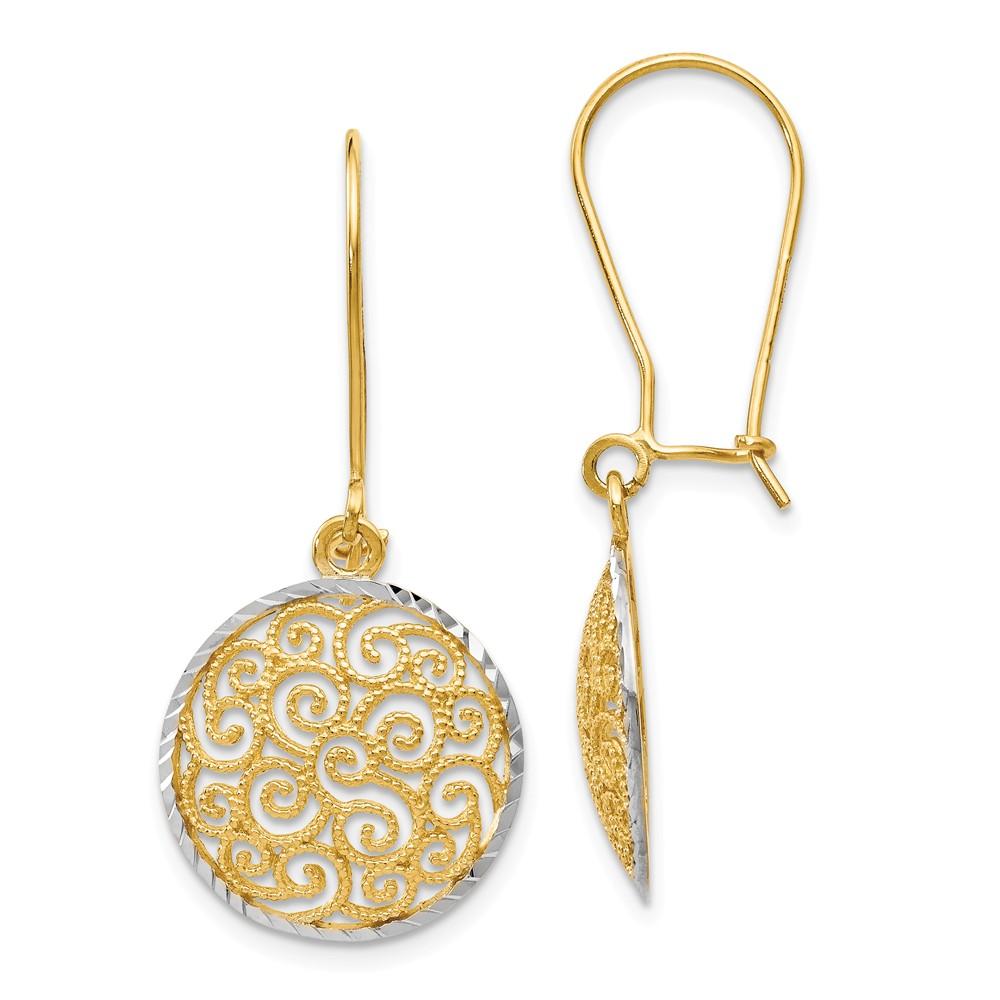 14k Two-Tone Gold Rhodium Filigree Dangle Earrings (1.2IN x 0.5IN )