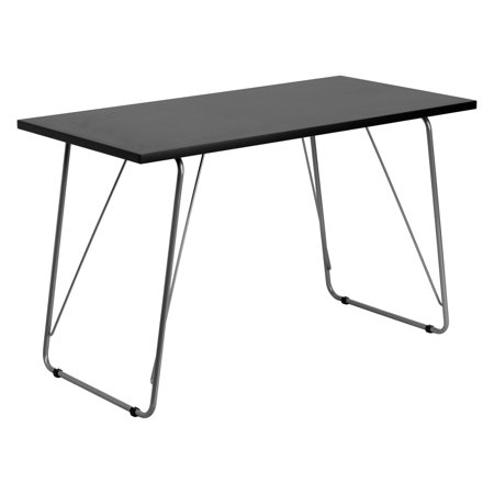 Flash Furniture Computer Table with Silver Frame - Black