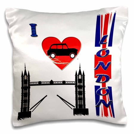 3dRose I love London. Tower bridge. England. British flag. Popular saying., Pillow Case, 16 by