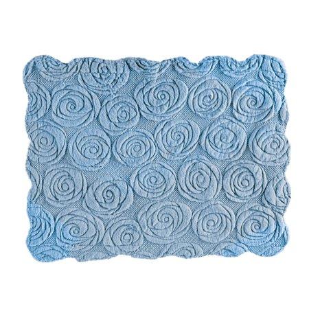 Collections Etc Elegant Faux Fur Rose Pillow Sham BLUE SHAM ()