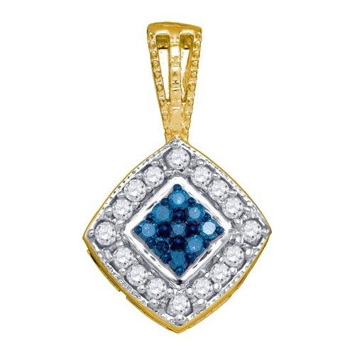 10K Yellow Gold 0.26ctw Decorated Blue Pave Diamond Square Fashion Pendant