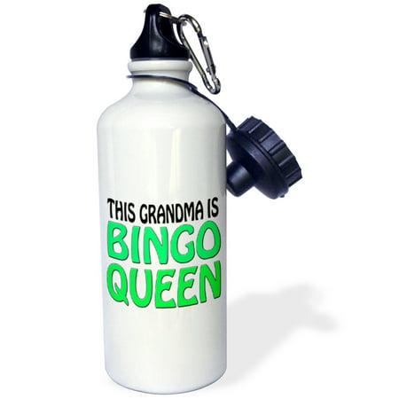 3dRose This grandma is bingo queen, Lime green,, Sports Water Bottle, 21oz - Fitness Bingo