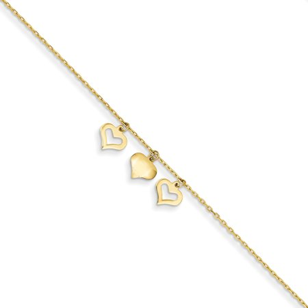 14k Yellow Gold 3 Hearts 1 Inch Adjustable Chain Plus Size Extender Anklet Ankle Beach Bracelet Gifts For Women For Her - Beach Bracelets