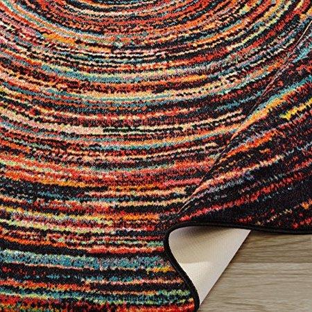 Ottomanson Rainbow Collection Non Slip Modern Multicolor
