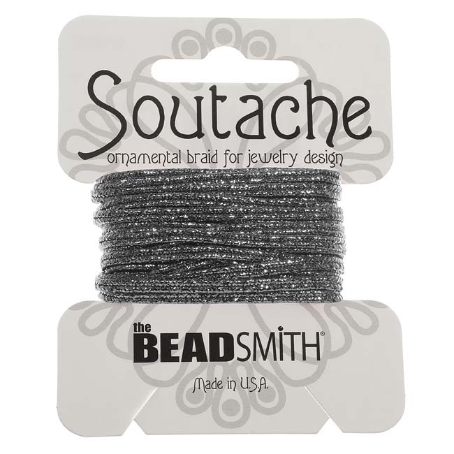 BeadSmith Textured Metallic Soutache Braided Cord 3mm - Gun Metal (3 Yards)