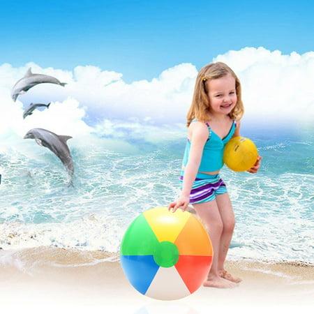 1PCS 20CM Rainbow-Color Inflatable Beach Ball Kid's Water Polo Birthday New Year Christmas Halloween Gift Toy Color:Multicolor - Halloween Daytona Beach