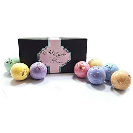 ISO Beauty Presents Art Du Savon 8pc Bath Bomb Luxury Gift Set Soothe Your Stressed Body and Mind While The Bath Bombs Releasing Bursts Of Uplifting Fragrance While Conditioning Skin With Shea Butter