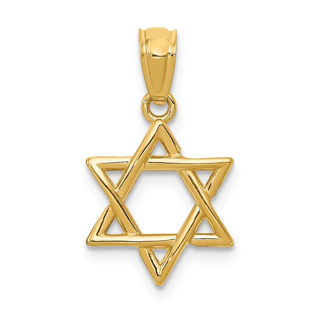 14k Yellow Gold Polished Star of David Pendant