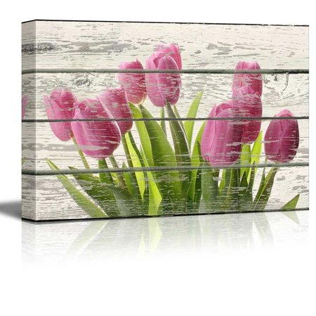 Wall26 - Bouquet of Beautiful Pink Tulips Artwork - Rustic Canvas Wall Art Home Decor - 12x18 inches](Rustic Bouquet)