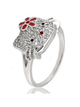 48eecb8db Product Image Sterling Silver Cubic Zirconia Hello Kitty Flower Promise Ring