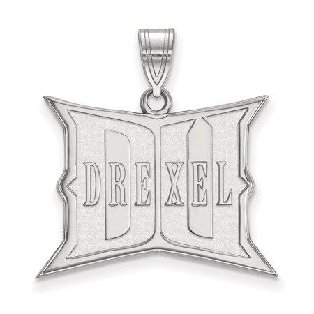Logoart 14K White Gold Drexel University Large Pendant 4W006dre