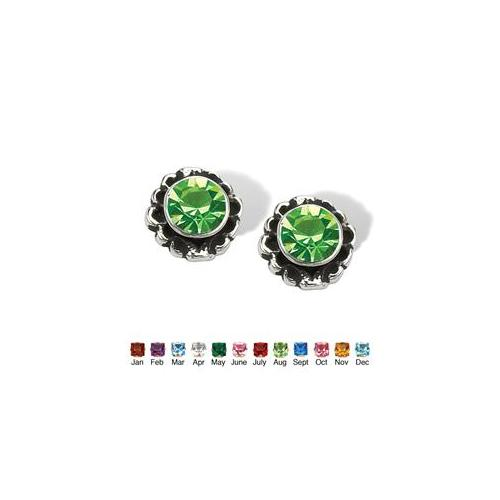 PalmBeach Jewelry 4724608 Round Simulated Birthstone Sterling Silver Stud Earrings August - Simulated Peridot
