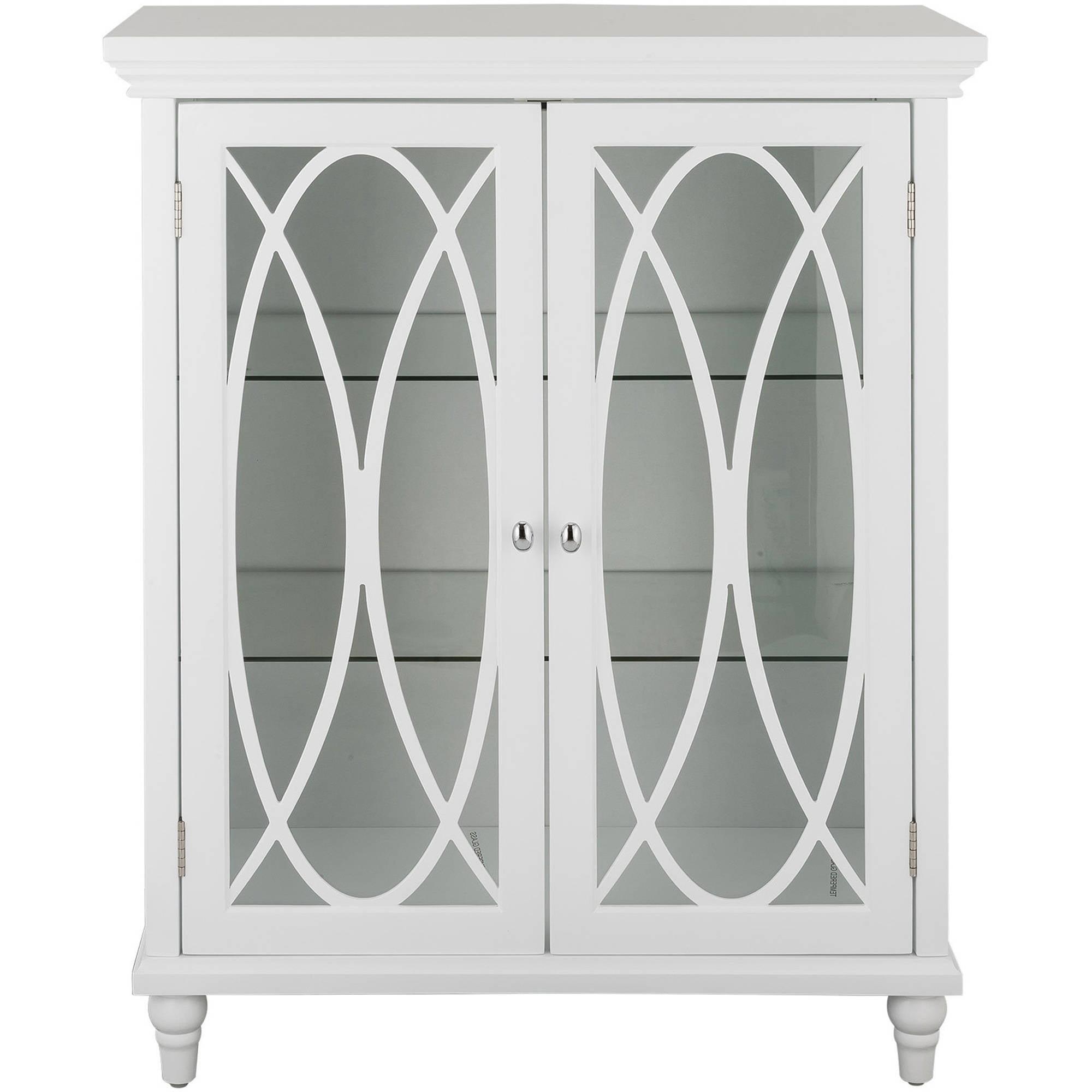 "Elegant Home Fashions 32"" H Miller Double Door Floor Cabinet With 2 Adjustable Tempered Glass Shelves"