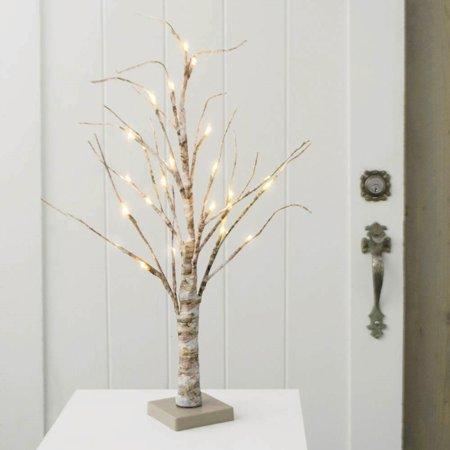 2 Pcs Lighted Branches Birch Tree 24 Inch Warm White Leds Battery Operated