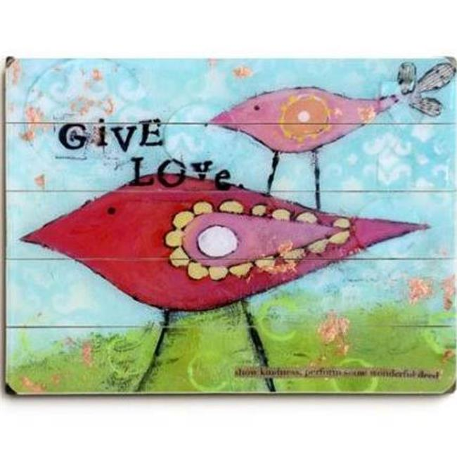 One Bella Casa 0003-9872-32 30 x 40 in. Give Love Planked Wood Wall Decor by Cindy Wunsch - image 1 of 1