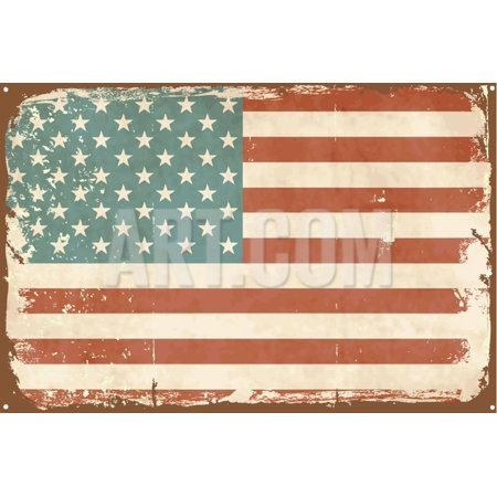 Vintage Style American Flag on the Tin Sign Print Wall Art By Alisa Foytik