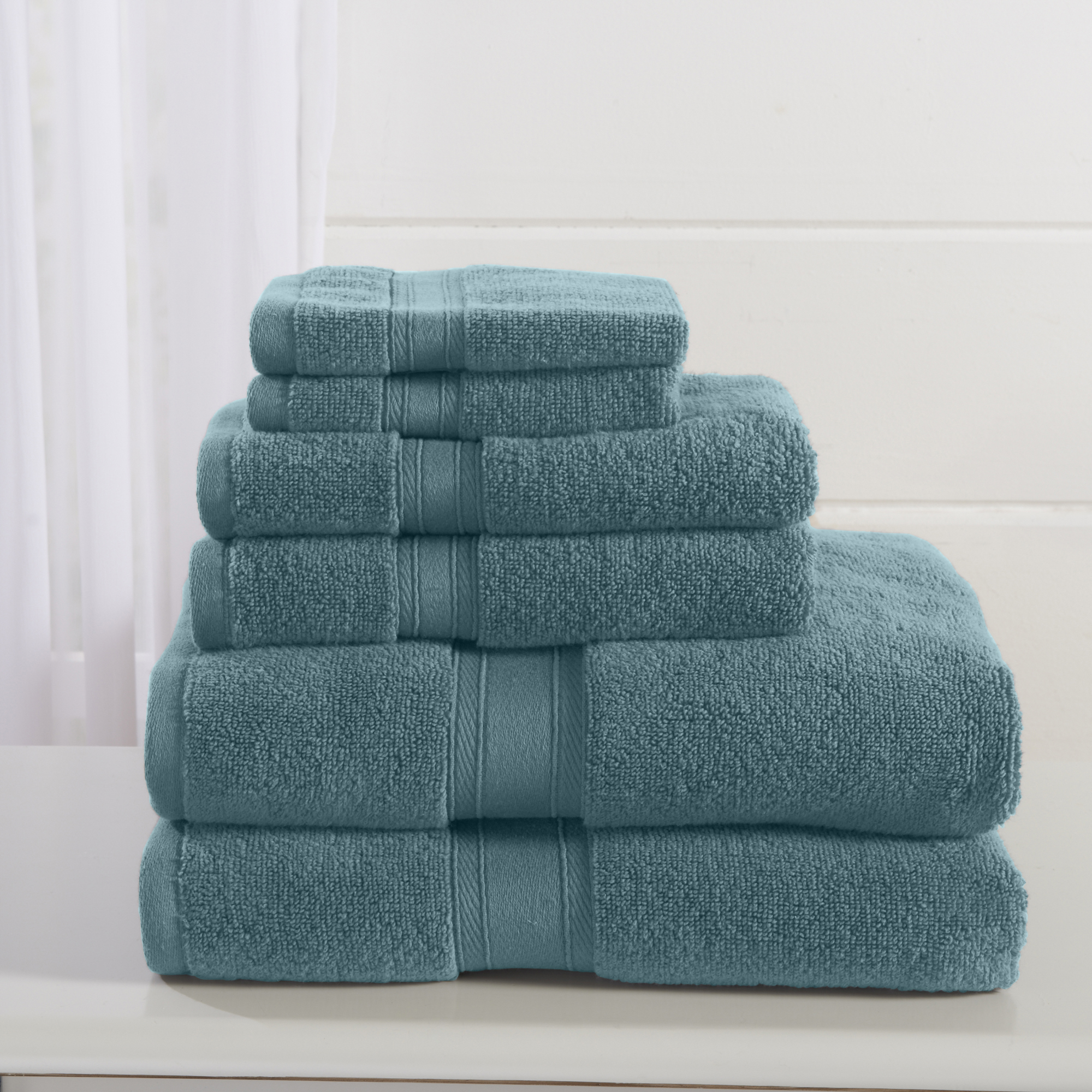 Adriano Collection 6-Piece 100% Zero Twist Cotton Towel Set By Home Fashion Designs