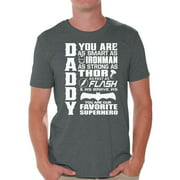Awkward Styles Men's Daddy Superhero Graphic T-shirt Tops Proud Dad Best Dad Ever Father`s Day Gift