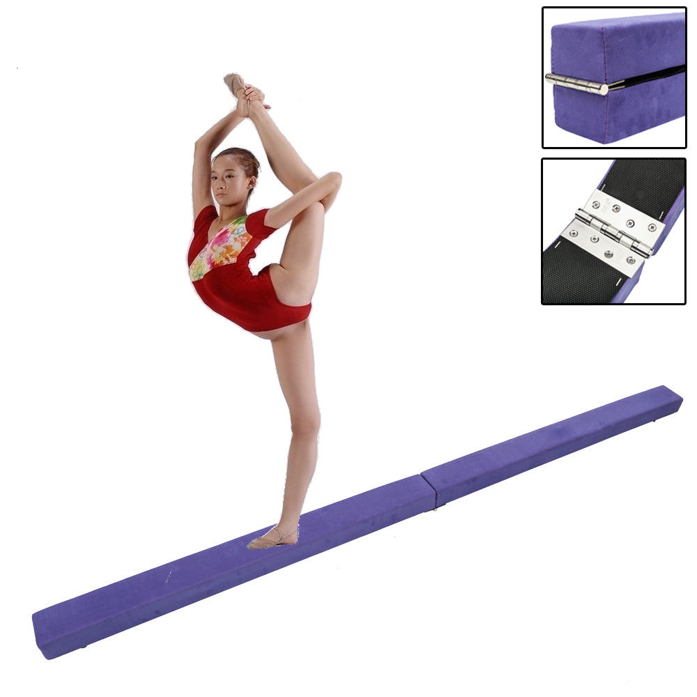 Zimtown Foldable Gymnastics Balance Beam, Sectional Floor Gymnastics Bar with Anti-Slip Base, for Junior Kids Home Gym Skill Performance , 7ft / 8ft / 9ft and Multi-color Optional