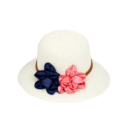 Lady Women Vacation Summer Beach Sun Floppy Wide Brim Floral Straw Hat Off White