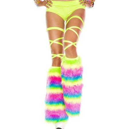 Music Legs 5541-RAINBOW Rainbow Faux Fur Leg Warmers, Rainbow