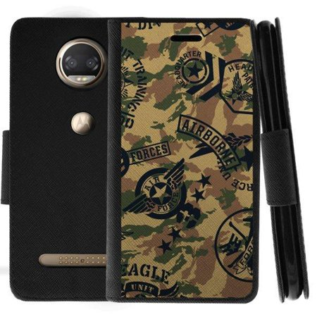TurtleArmor ®   For Motorola Moto Z2 Force   Motorola Moto Z2 Play [Wallet Case] Leather Cover with Flip Kickstand and Card Slots - Air Force Camo
