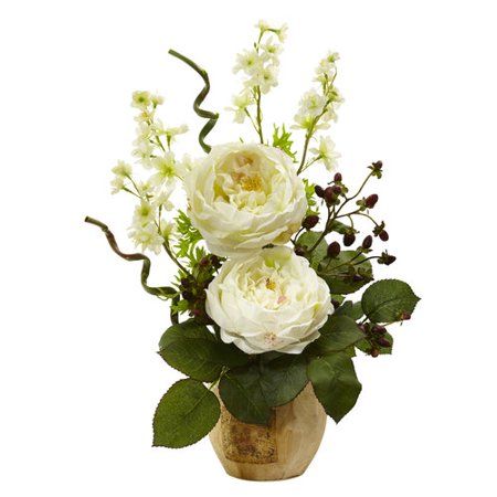 Large Rose And Dancing Daisy In Wooden Pot-WH