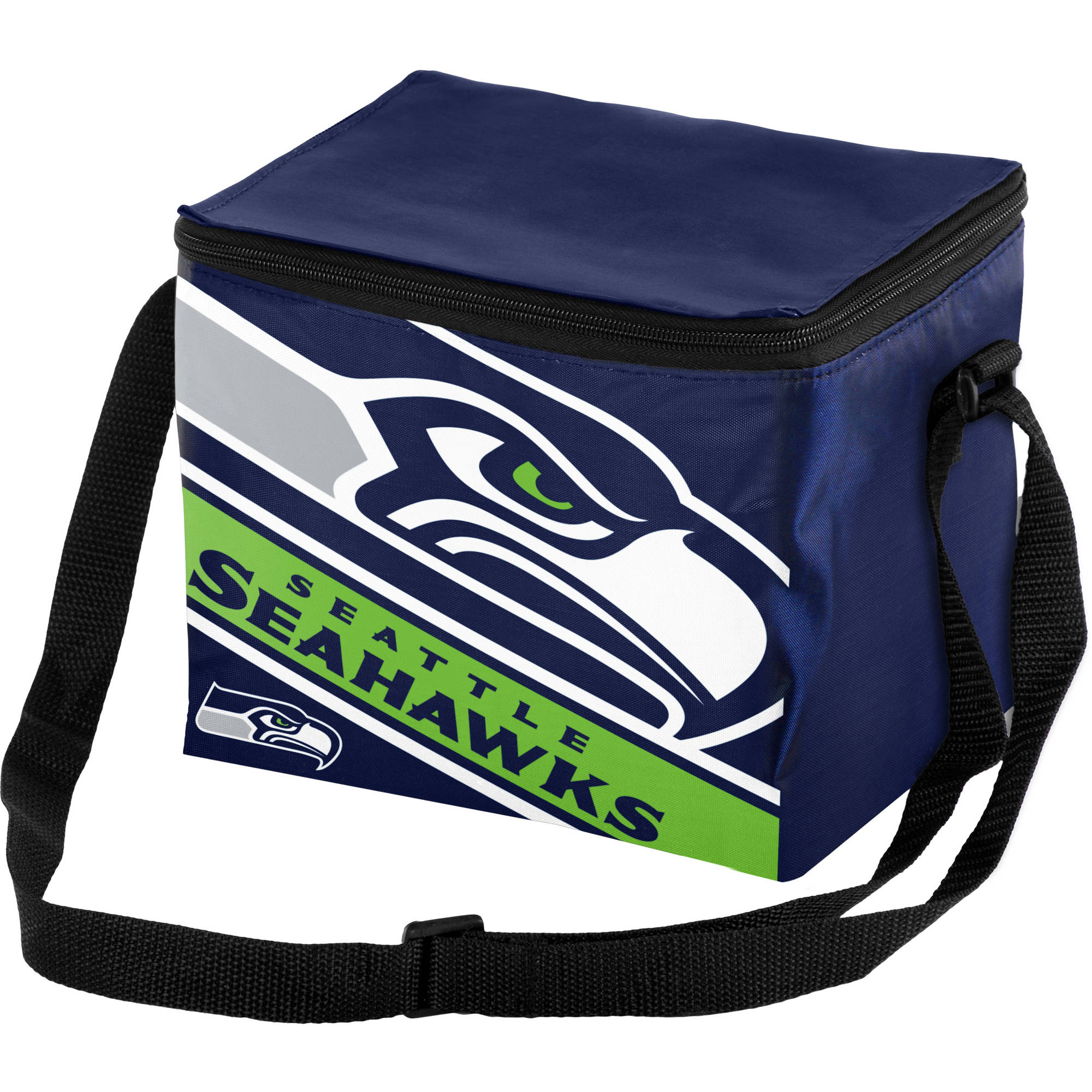 Forever Collectibles Big Logo Stripe 6 Pack Cooler, Seattle Seahawks