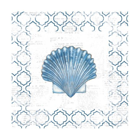 Navy Scallop Shell on Newsprint Print Wall Art By Emily Adams