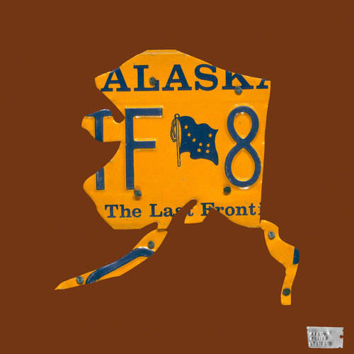 Oopsy Daisy - Alaska License Plate CHOCOLATE Map Canvas Wall Art 14x14, Aaron Foster