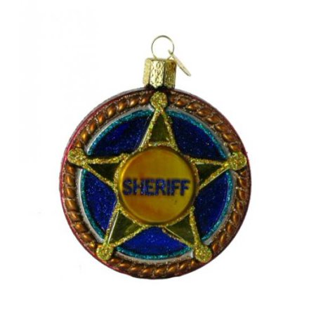Old World Christmas Sheriff Badge Glass Blown Ornament - Sheriffs Badges