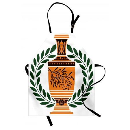 Antiqued Olive (Toga Party Apron Old Antique Greek Vase with Olive Branch Motif and Laurel Wreath, Unisex Kitchen Bib Apron with Adjustable Neck for Cooking Baking Gardening, Hunter Green Orange Black, by Ambesonne )