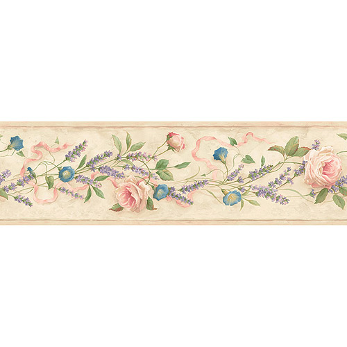 Blue Mountain Lavender and Rose Wallpaper Border, Pink and Purple