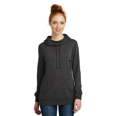 District Women's Lightweight Fleece Hoody, Heathered Black, Medium ()