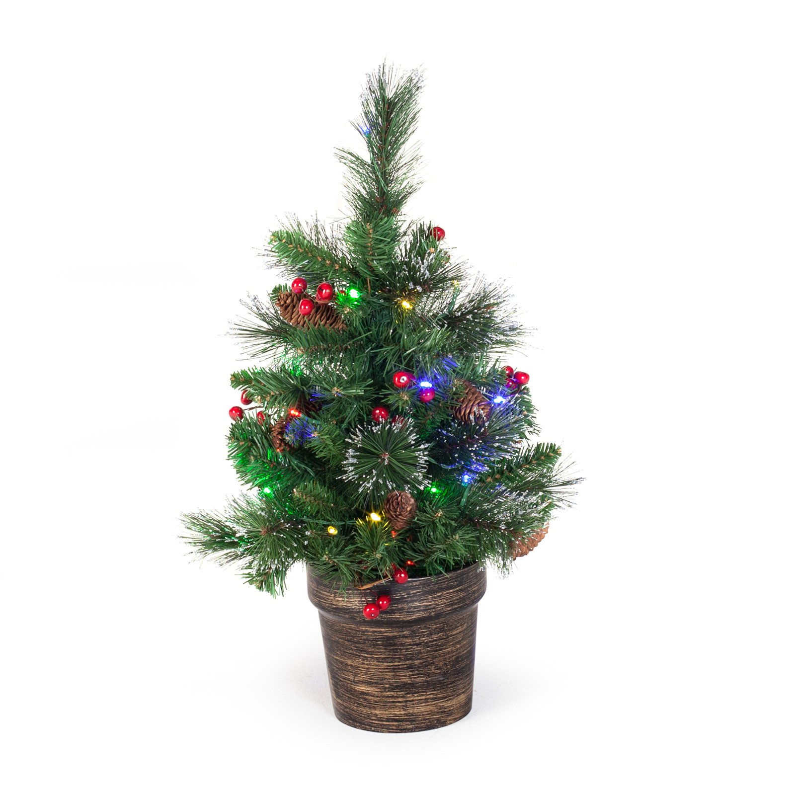 National Tree Pre-Lit 2' Crestwood Spruce Small Artificial Christmas Tree with Silver Bristle, Cones, Red Berries and Glitter in a Plastic Bronze Pot with 35 Battery Operated Multi LED Lights