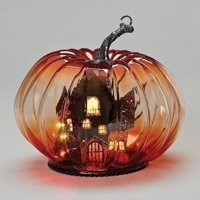 "8"" LED Lighted House on Glass Pumpkin - Battery Operated"