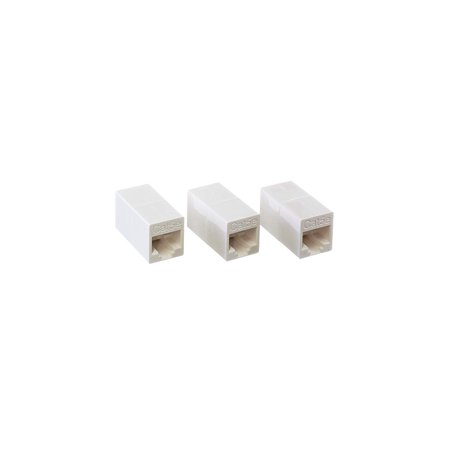 THE CIMPLE CO - Ethernet Extender and Adapter | RJ45 Ethernet Data Cable f Connector Coupler | 8 Conductor 8p8c 4 Line – (White) - 3 Pack