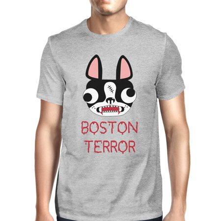 Boston Terror Terrier Halloween Shirt For Men Grey Cotton Crewneck