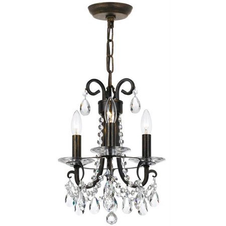 Mini Chandeliers 3 Light With Steel Crystal Clear Hand Cut English Bronze size 13 in 180 Watts - World of - Hand Cut Lead Crystal Chandelier