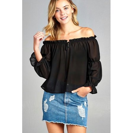 - Women's Puff Long Sleeve Ruffled Front Tie Off Shoulder Top