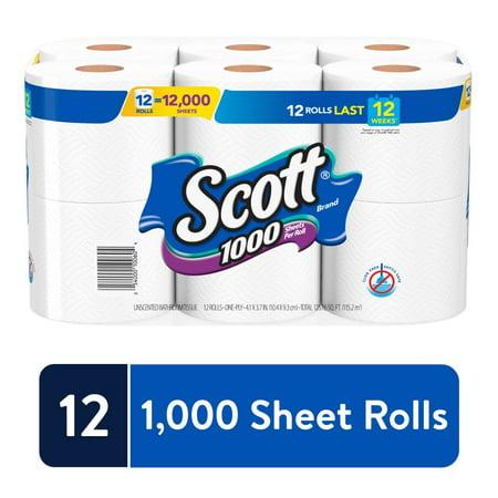 Scott 1000 Sheets Per Roll Toilet Paper, 12 Rolls, Bath Tissue Scott Toilet Paper Dispensers
