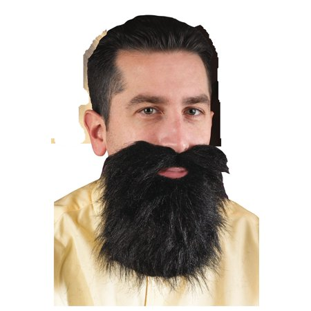 Adult Mens Black Facial Hair Beard And Moustache Mustache Costume Accessory - Long Hair And Beard Halloween Costume Ideas