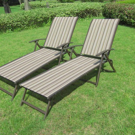Mainstays Fair Park Sling Folding Lounge Chairs, Set of 2