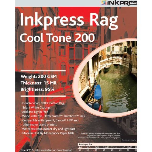 Inkpress Prct2008825 Fine Art Rag Cool Tone 200 Gsm 8In. X 8In. 25 Sheets
