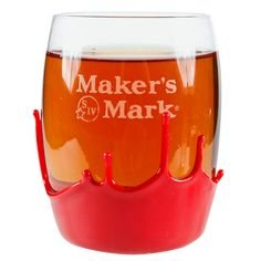 Maker's Mark Signature Etched Double Old Fashioned Rocks Glass, 1 Signature Round Maker's Mark Waxed Dipped Glass By Makers Mark (Old Round Glasses)