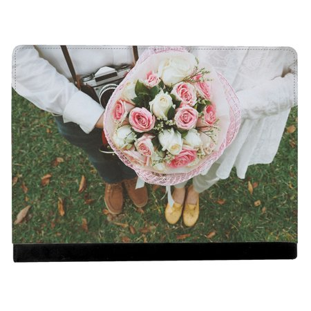 Image Of Photograph Of A Bride And Groom Holding A Bouquet Apple Ipad Pro 12 9 Inch Leather Flip Tablet Case