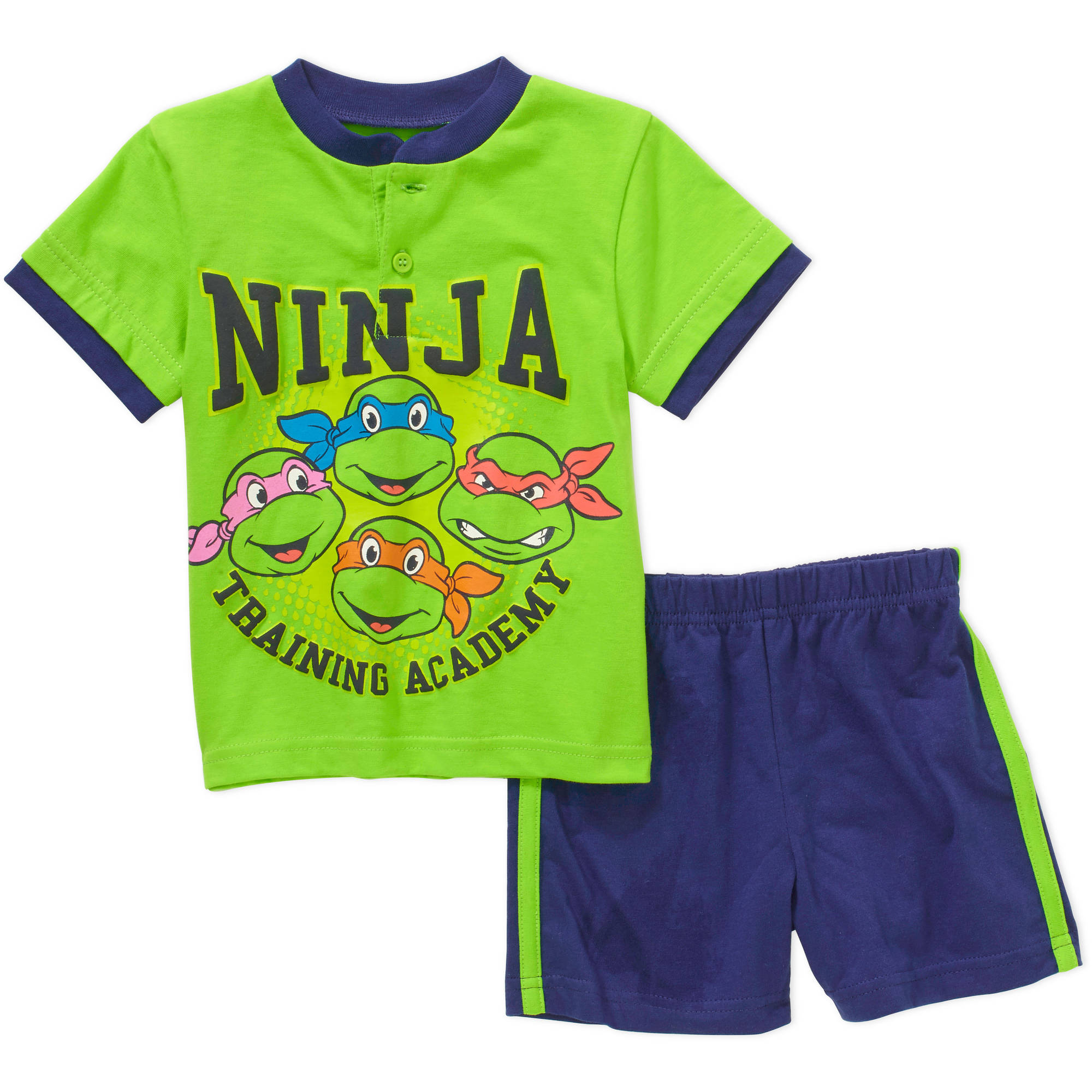 Teenage Mutant Ninja Turtles Newborn Baby Boys' License Knit Henley and Solid Short 2 Piece Set