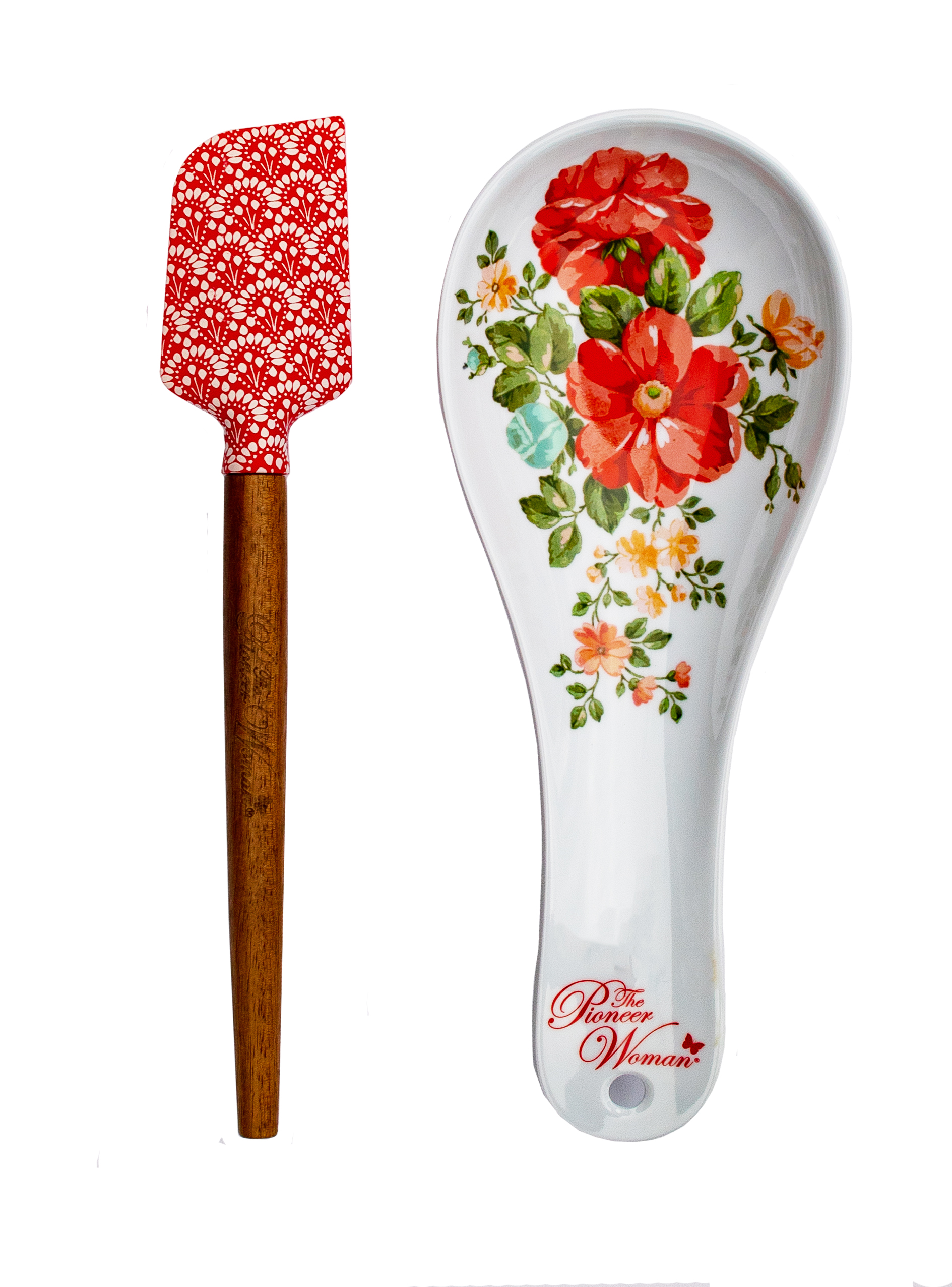 The Pioneer Woman 2 Piece Spoon Rest and Spatula Set in Vintage Floral