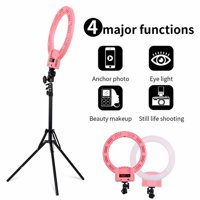 Selfie Ring Light with Tripod Stand for Live Stream-LED Ring Light with Phone Holder for iPhone Samsung Android-Dimmable Makeup Light for YouTube